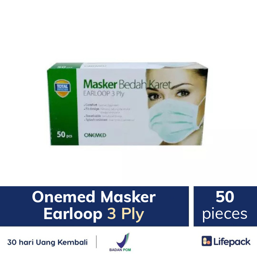 Onemed Masker Earloop 3 Ply - Lifepack.id